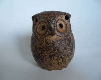 Vintage ceramic tealight holder,owl figure tealight holder,small ceramic owl