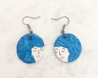 Two faced Blue little ladies // handmade and handpainted earrings
