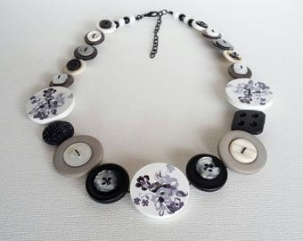 Button Necklace, Button Jewellery, Statement Necklace, Black and White Necklace, Unique Necklace, Handmade Necklace, Quirky Necklace