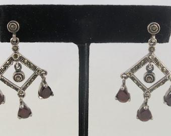 Silver Sterling Dangle Chandelier Marcasite Garnet Stud Earrings