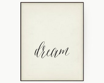 "Typography Art Motivational Poster ""Dream"" Antique White Inspirational Word Art- Gift Idea For Her- Large Wall Art- Digital Download"