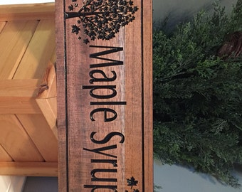 Maple Syrup, sugar Shack Sign, Outdoor Sign, Maple Tree and Maple Leaf Pure Syrup carved Sign Wooden Maple Sap Sugar House 100% Maple Syrup