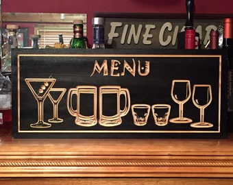 BAR Menu, Martini Glasses,  Beer Mugs, Shots, Wine Glass, Wooden Signs, ManCave Wall Sign, Wooden Carved Sign, Wall art,  Benchmark Signs