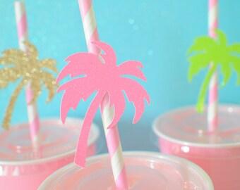Palm tree straws ,Luau paper straws, Luau party, summer party, Palmtree straws, straws, Luau party decor