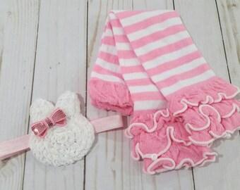 Easter leg warmer, headband set,  Easter Bunny headband,  pink ruffle legs, baby headband,  Easter baby, baby legs