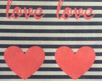 Red Hearts and Black Stripes Edible Wafer Paper