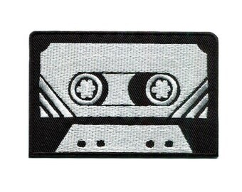 """3.2"""" Retro OLD SKOOL black silver 80s 90s MIXTAPE cassette Embroidered Iron on patch"""