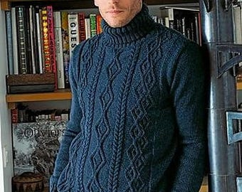 MADE TO ORDER. Sweater for men turtleneck hand knitted, pullover men clothing handmade - cabled