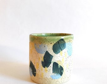 Hand Built Stoneware Palette Cup or Planter