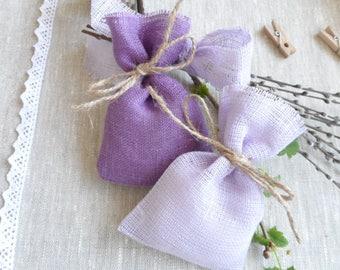 Lilac purple burlap favor bags - Wedding favors, gift & jewelry bags, natural linen bags - Small bags - Burlap bags