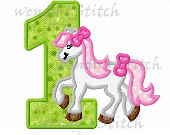 pony horse applique birthday number 1 machine embroidery design instant download