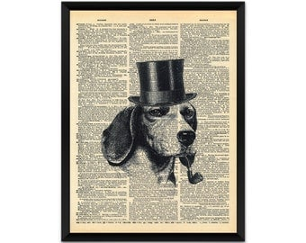 Picture, print, dog with pipe on dictionary page wall art, illustration, poster,wall decor, A4, A3