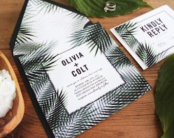 Palm Tree Wedding Invitations / DIY Printable wedding Invitations / Destination Wedding / Tropical Invitation / Beach Wedding Invitations.