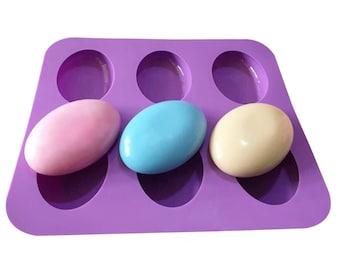 6-cavity oval Cobblestone egg shape Soap mold cake mold silicone mold bath bomb mold concrete mold  resin mold mould polymer clay mold