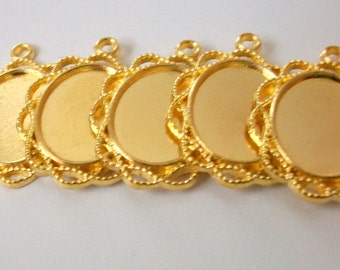 5 - Gold Plated Scalloped Oval Cabochon Base Settings