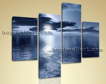 Large Seascape Print Beach Painting Canvas Art Living Room 4 Panels Giclee, Large Beach Wall Art, Living Room,