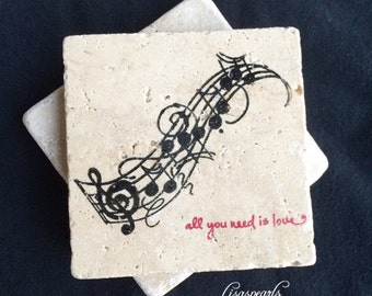 4 - All You Need is Love stone coasters . Natural 4x4 travertine tile coaster with musical notes .