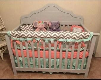 Items Similar To Custom Crib Bedding Aqua And Grey
