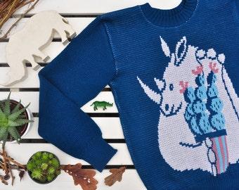 "Navy blue sweater with rhino and cactus ""Rhino's dream"""