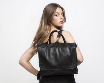 BLACK Leather Backpack, School Bag, Laptop Backpack, Rucksack, Messenger bag, School Backpack, SPECIAL PRICE!