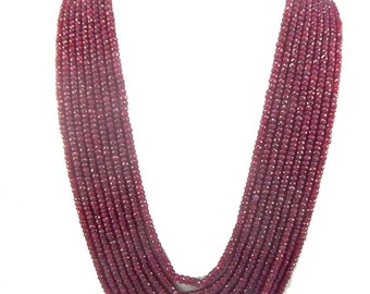 """25% shop sale Natural heated Ruby AA Quality Precious Gemstones, Rich Lustrous Color Medium faceted Rondelles 4-5 mm 9 strand 1 necklace 22"""""""