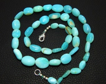 """Shop sale wholesale price 135.90 natural Blue Peru Opal oval Beads size 6x9-11x14 mm smooth oval beads, nuggets beads, tumble beads 19.5"""""""