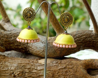 Pleasant yellow jhumka with contemporary pinkness