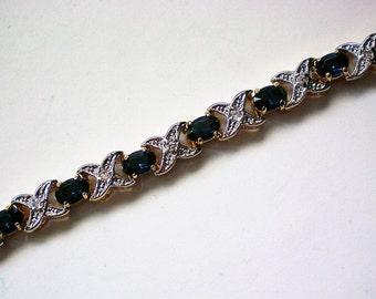Sapphire Bracelet with X Bar Design - 5219