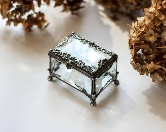 ring box, Glass Box, engagement ring box, rectangular glass box, stained glass box, wedding ring box,  ring holder, jewelry box,