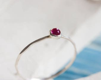 Tiny Ruby ring - skinny silver stacking ring with rose cut Ruby stone, July birthstone 3mm