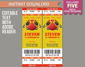 Nerf and Dodgeball Party Ticket Invitation - INSTANT DOWNLOAD - Nerf War Birthday Party - Edit and print with Adobe Reader