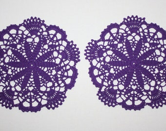 Set of 2, Small crochet doily, Lace doilies, purple doily, Round doily, Cotton doily, Table topper, 7 inches