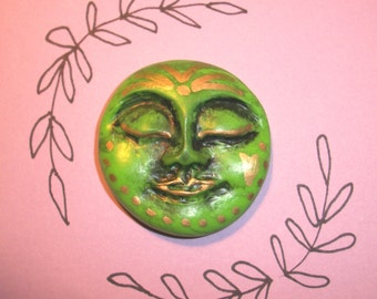 """Glowing Goddess,FACE CABOCHON,One of a kind,OOAK,green,1.75"""",mosaic tile,art craft supplies,jewelry,altered art doll,flat back bead"""