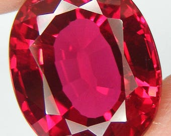 18.35 CT Loose Ruby Oval 17 x 13 mm Pigeon Blood Red Ruby Lab corundum Loose Gemstone