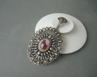 Very large elegant ornate filigree solid silver pendant.