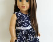 Navy and White Lace Dress for American Girl Dolls