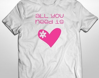 All You Need Is Love, Iron On Transfer, Iron On, Child Shirt, Printable, Digital File, Heat Transfer, Custom Digital, Valentines Shirt