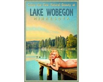 Lake Wobegon Minnesota Marilyn Monroe Pin Up Poster Duck Dock Sunset Art Print 293