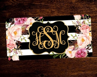 Monogram License Plate Personalized Car Tag Set Flowers Rustic Boho Blush Burgundy Bouquets Mother's Day Gift Matching License Frame