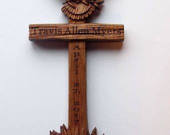 """Wooden Wall Confirmation Cross with Engraving - Wood Cross Wood Carving Wall Hanging - WOOD WALL ART - Confirmation Gift 10"""" x 5""""  White Oak"""