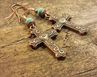 Cross Earrings, Copper Earrings, Copper Cross Earrings, Boho Earrings, Drop Earrings, Dangle Earrings