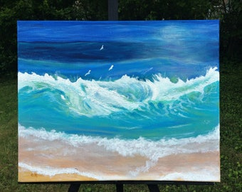 BERMUDA BLUE Abstract seascape original 16 x 20 in. painting of breaking waves  texture & glitter