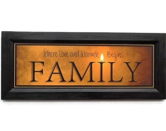 Family, Robin-Lee Vieira Print, Candle Flame Series, Framed Art, Sign Art, Wall Hanging, Handmade, 20X8, Custom Wood Frame, Made in the USA