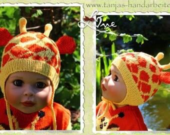 Giraffe Earflap Hat Knitting Pattern