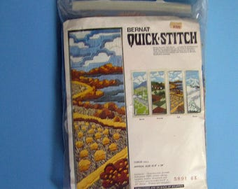 900) Bernat Quick Stitch, T08530 Fall, 8 inch x 24 inch, Home Decor, Fall Scenery, Wall Hanging, Vintage New Kit