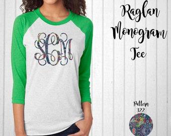 Monogram Shirt, Monogram Raglan Tee // Lilly Monogram T-Shirt in Pattern 322