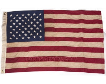 Tea Stained Antiqued 5 x 8 Foot US American US Flag