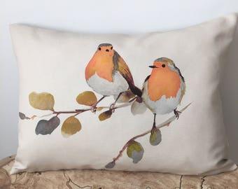 Robin Birds 13x18 Pillow, Unique Watercolor Pillow Cover, Decorative Linen Cushion Cover, Handmade Throw Pillow Case, Bird Pillow Cover
