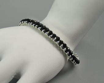 Bracelet, Black Crystals with Silver Glass Seed Beads
