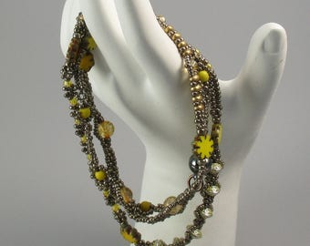 Wrap Bracelet, Yellow glass flowers and assorted glass and metal beads, beaded bracelet